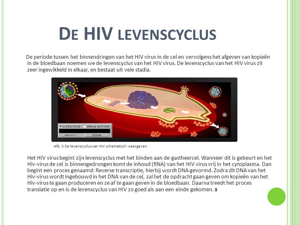 D E HIV LEVENSCYCLUS De periode tussen het binnendringen van het HIV virus in de cel en vervolgens het afgeven van kopieën in de bloedbaan noemen we d