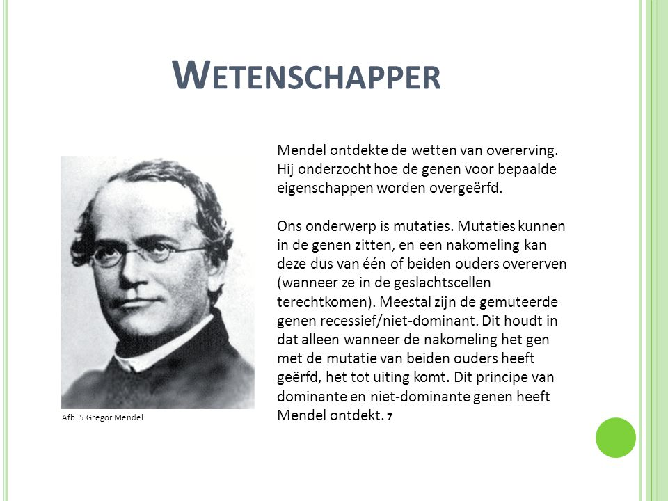 W ETENSCHAPPER Mendel ontdekte de wetten van overerving. Hij onderzocht hoe de genen voor bepaalde eigenschappen worden overgeërfd. Ons onderwerp is m