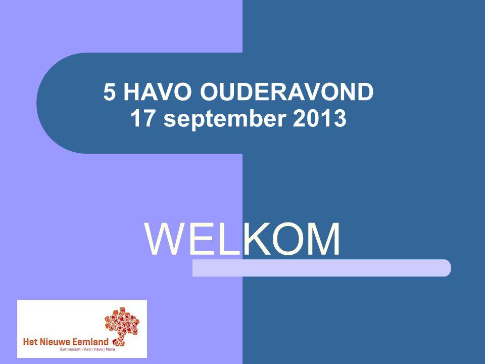 5 HAVO OUDERAVOND 17 september 2013 WELKOM