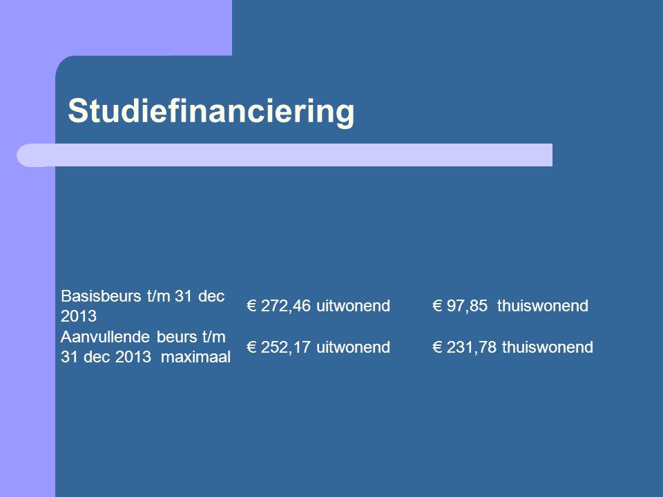 Studiefinanciering Basisbeurs t/m 31 dec 2013 € 272,46 uitwonend€ 97,85 thuiswonend Aanvullende beurs t/m 31 dec 2013 maximaal € 252,17 uitwonend€ 231