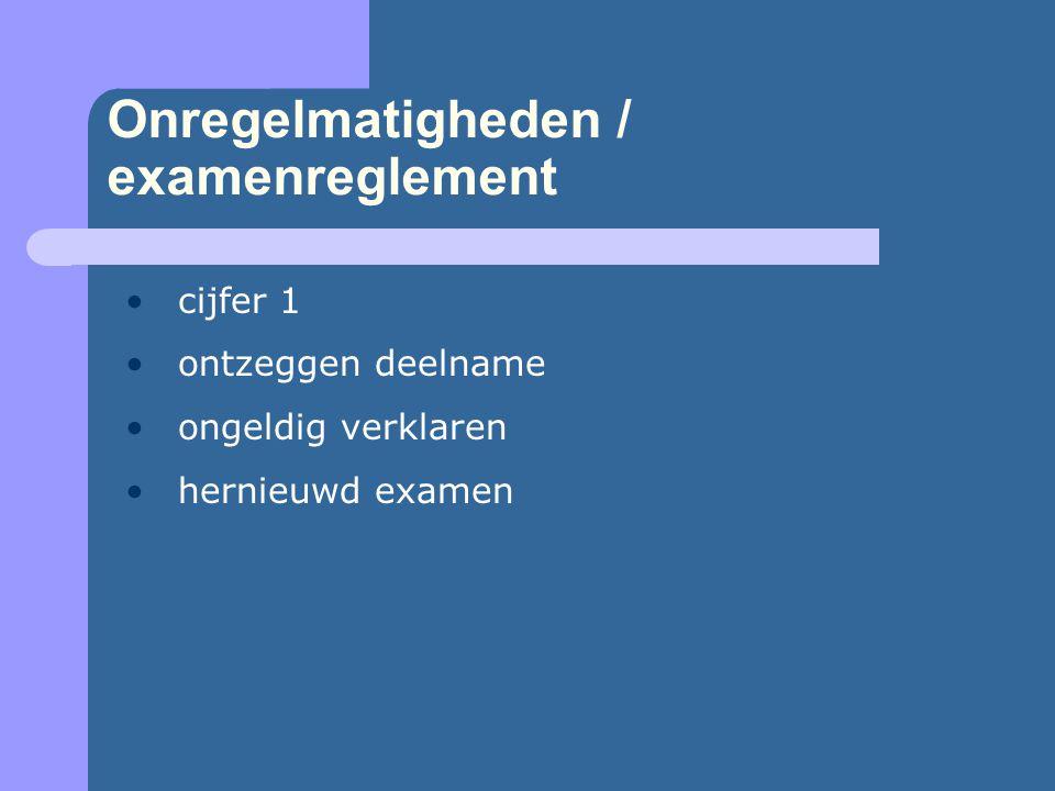 Onregelmatigheden / examenreglement •cijfer 1 •ontzeggen deelname •ongeldig verklaren •hernieuwd examen