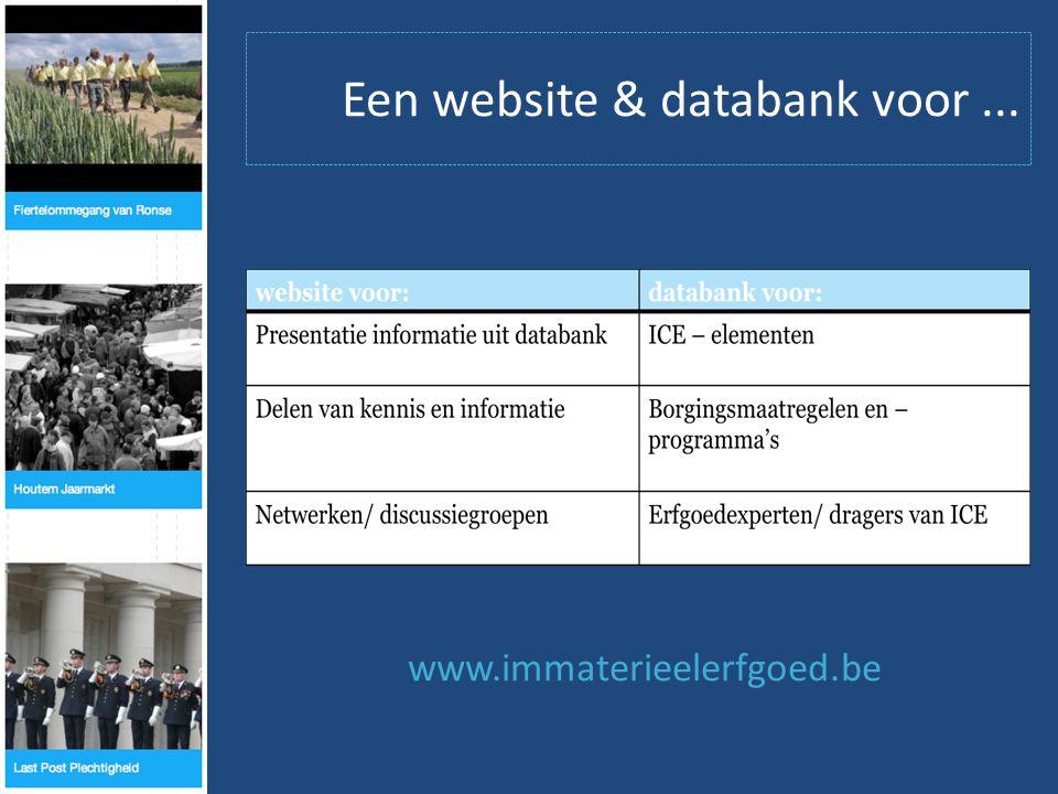 Een website & databank voor... www.immaterieelerfgoed.be
