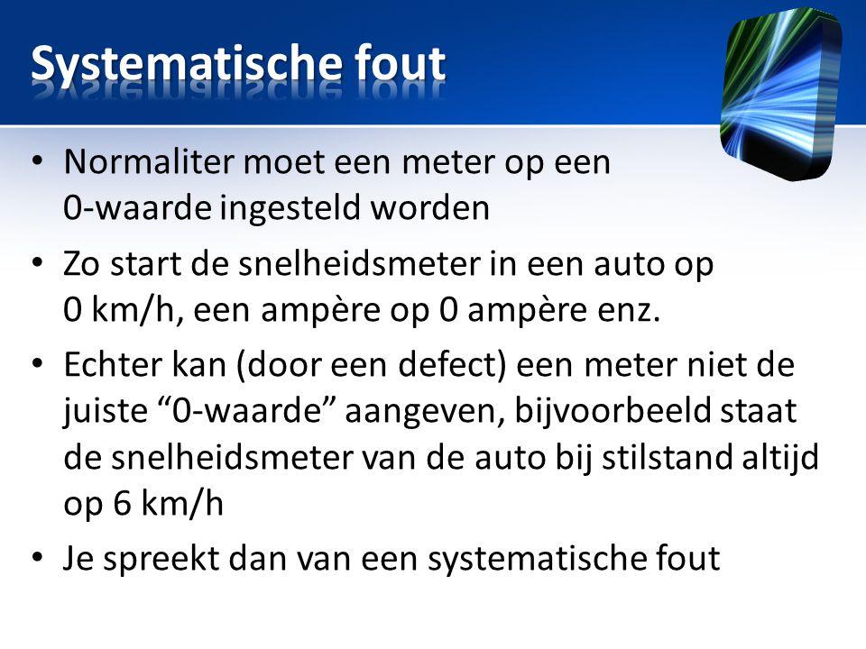 • Normaliter moet een meter op een 0-waarde ingesteld worden • Zo start de snelheidsmeter in een auto op 0 km/h, een ampère op 0 ampère enz. • Echter