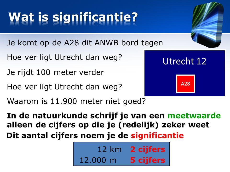 Utrecht 12 A28 Je komt op de A28 dit ANWB bord tegen Hoe ver ligt Utrecht dan weg? Je rijdt 100 meter verder Hoe ver ligt Utrecht dan weg? Waarom is 1