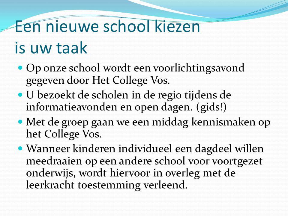 Een nieuwe school kiezen is uw taak  Op onze school wordt een voorlichtingsavond gegeven door Het College Vos.  U bezoekt de scholen in de regio tij