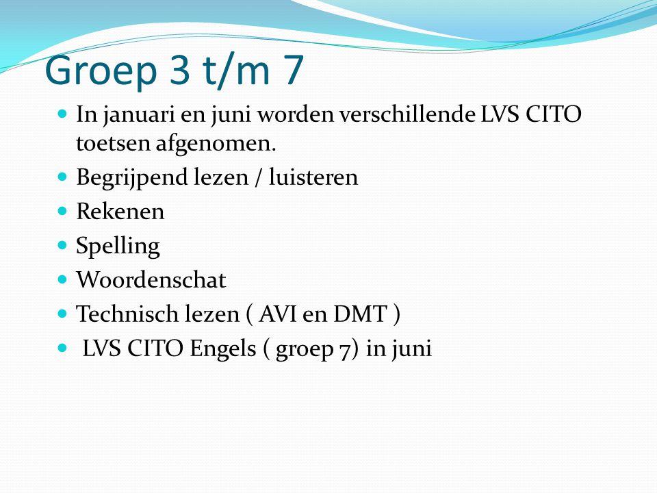 Groep 3 t/m 7  In januari en juni worden verschillende LVS CITO toetsen afgenomen.  Begrijpend lezen / luisteren  Rekenen  Spelling  Woordenschat