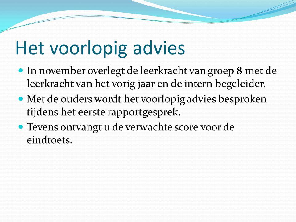 Het voorlopig advies  In november overlegt de leerkracht van groep 8 met de leerkracht van het vorig jaar en de intern begeleider.  Met de ouders wo
