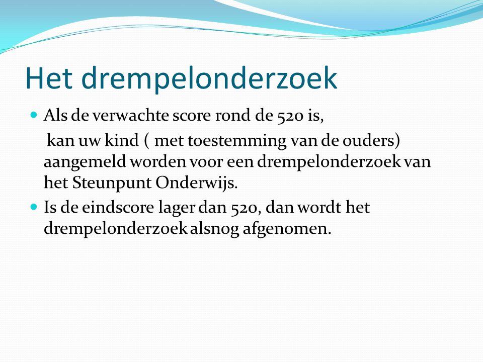 Het drempelonderzoek  Als de verwachte score rond de 520 is, kan uw kind ( met toestemming van de ouders) aangemeld worden voor een drempelonderzoek van het Steunpunt Onderwijs.