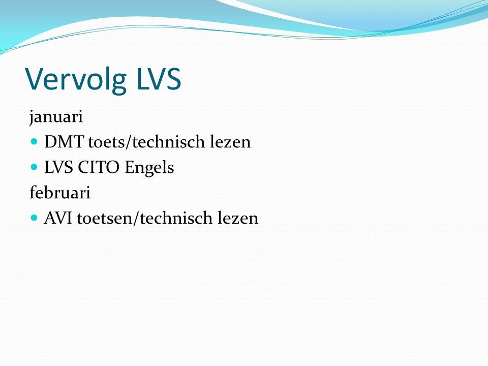 Vervolg LVS januari  DMT toets/technisch lezen  LVS CITO Engels februari  AVI toetsen/technisch lezen