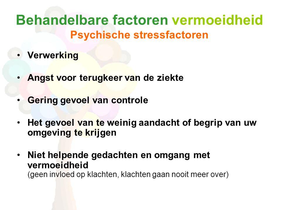 Behandelbare factoren vermoeidheid Psychische stressfactoren •Verwerking •Angst voor terugkeer van de ziekte •Gering gevoel van controle •Het gevoel v