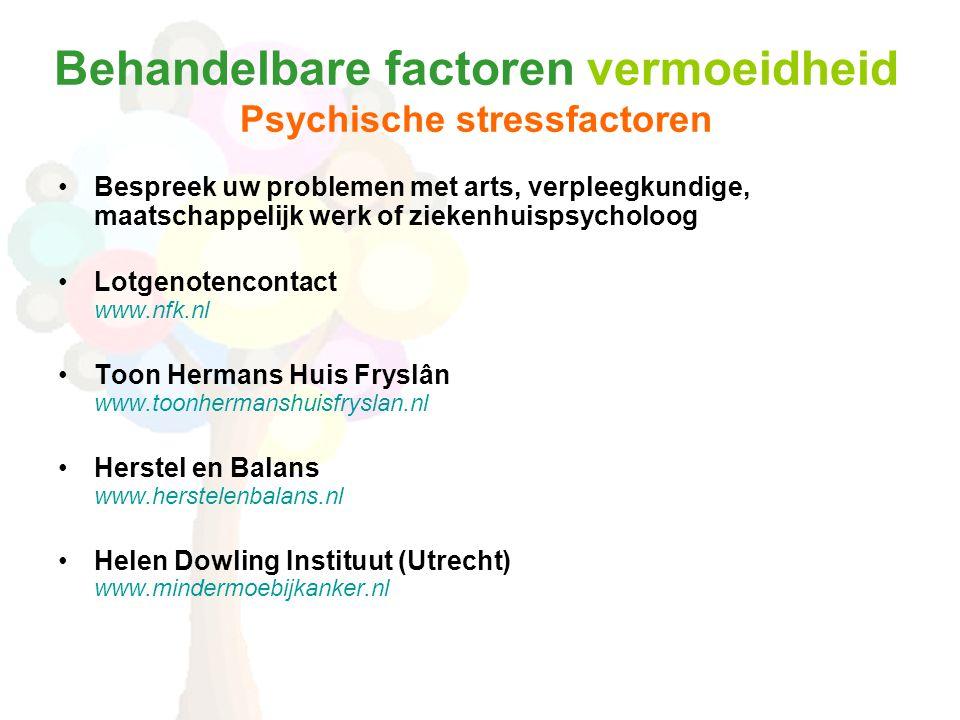 Behandelbare factoren vermoeidheid Psychische stressfactoren •Bespreek uw problemen met arts, verpleegkundige, maatschappelijk werk of ziekenhuispsycholoog •Lotgenotencontact www.nfk.nl •Toon Hermans Huis Fryslân www.toonhermanshuisfryslan.nl •Herstel en Balans www.herstelenbalans.nl •Helen Dowling Instituut (Utrecht) www.mindermoebijkanker.nl