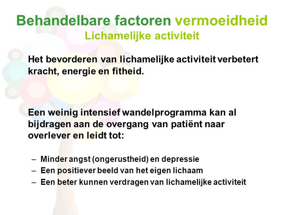 Behandelbare factoren vermoeidheid Lichamelijke activiteit Het bevorderen van lichamelijke activiteit verbetert kracht, energie en fitheid. Een weinig