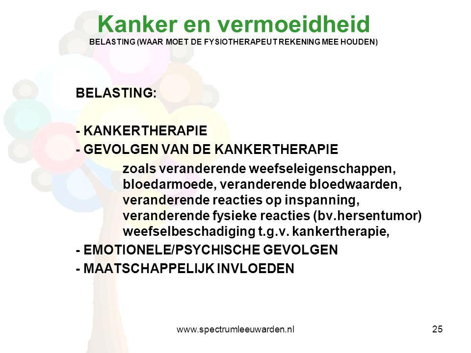 Kanker en vermoeidheid BELASTING (WAAR MOET DE FYSIOTHERAPEUT REKENING MEE HOUDEN) BELASTING: - KANKERTHERAPIE - GEVOLGEN VAN DE KANKERTHERAPIE zoals veranderende weefseleigenschappen, bloedarmoede, veranderende bloedwaarden, veranderende reacties op inspanning, veranderende fysieke reacties (bv.hersentumor) weefselbeschadiging t.g.v.