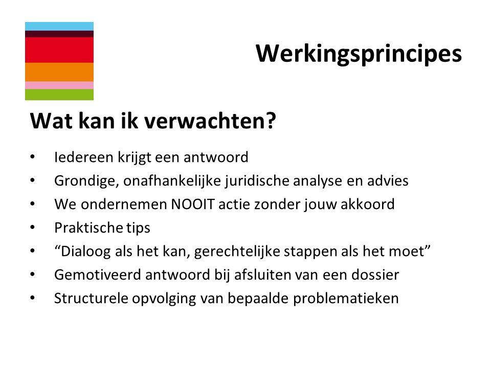 Werkingsprincipes Wat kan ik verwachten? • Iedereen krijgt een antwoord • Grondige, onafhankelijke juridische analyse en advies • We ondernemen NOOIT