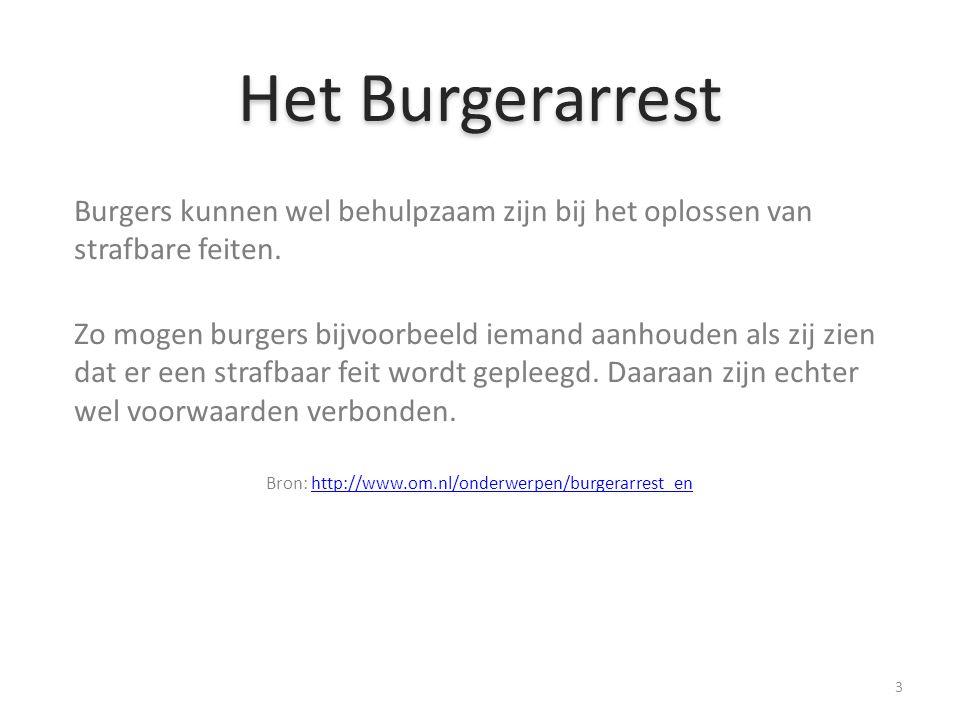 Het Burgerarrest Burgers kunnen wel behulpzaam zijn bij het oplossen van strafbare feiten.