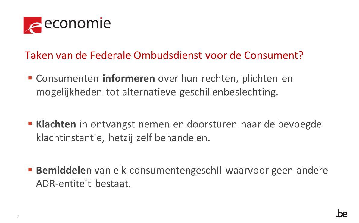 7 Taken van de Federale Ombudsdienst voor de Consument.