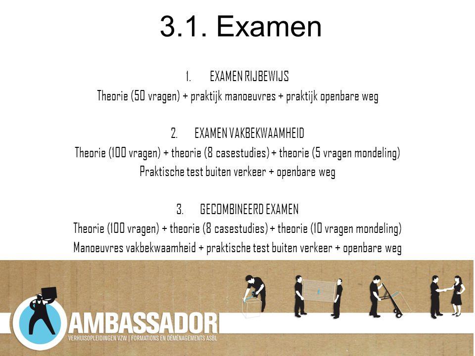 3.1. Examen 1.EXAMEN RIJBEWIJS Theorie (50 vragen) + praktijk manoeuvres + praktijk openbare weg 2.EXAMEN VAKBEKWAAMHEID Theorie (100 vragen) + theori