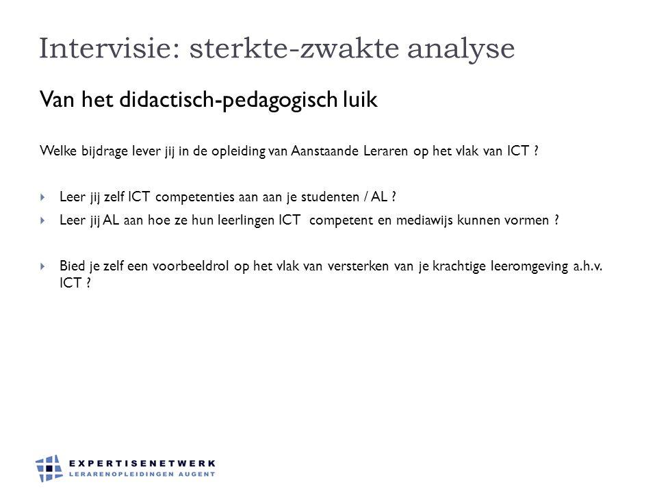 Intervisie: sterkte-zwakte analyse Van het didactisch-pedagogisch luik Welke bijdrage lever jij in de opleiding van Aanstaande Leraren op het vlak van ICT .