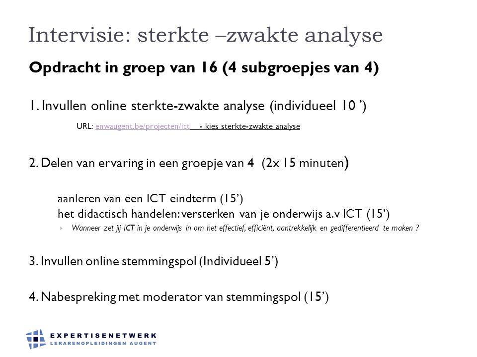 Intervisie: sterkte –zwakte analyse Opdracht in groep van 16 (4 subgroepjes van 4) 1. Invullen online sterkte-zwakte analyse (individueel 10 ') URL: e