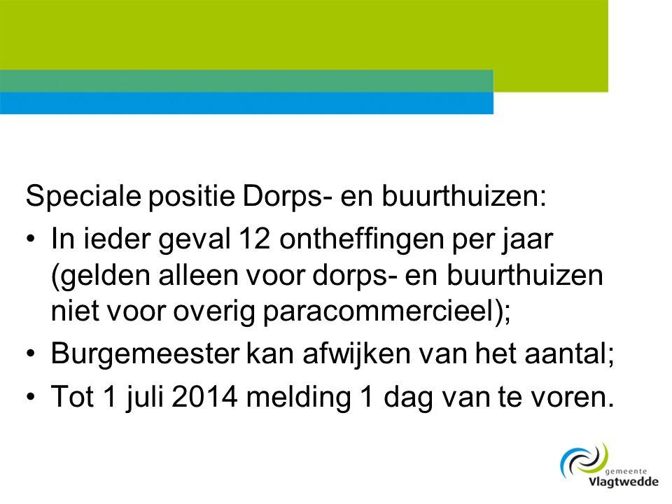 Speciale positie Dorps- en buurthuizen: •In ieder geval 12 ontheffingen per jaar (gelden alleen voor dorps- en buurthuizen niet voor overig paracommer