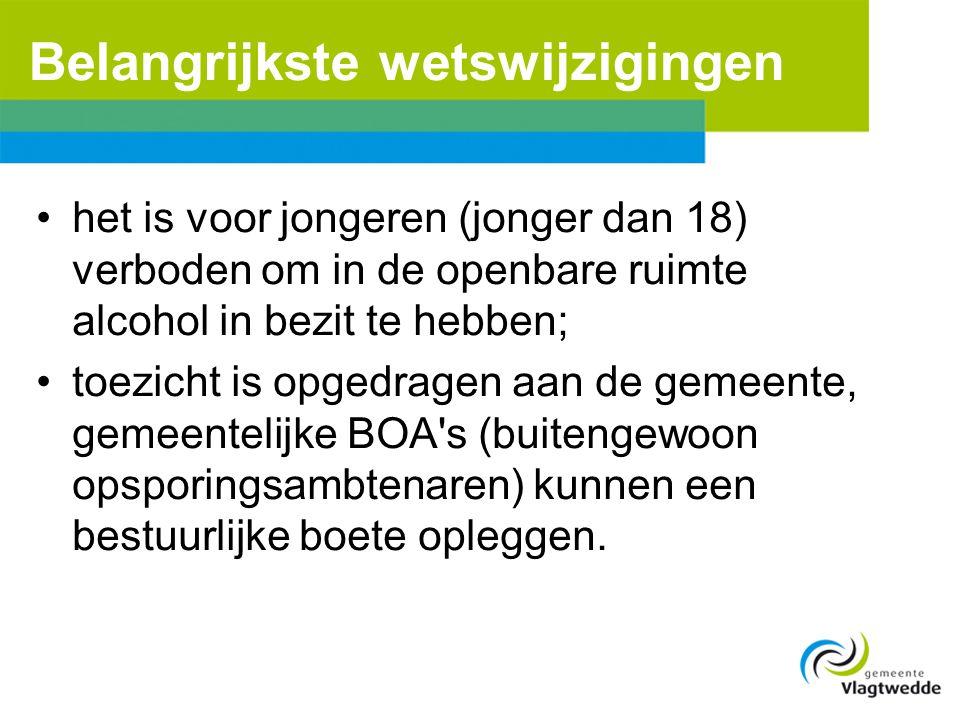 Belangrijkste wetswijzigingen •het is voor jongeren (jonger dan 18) verboden om in de openbare ruimte alcohol in bezit te hebben; •toezicht is opgedra