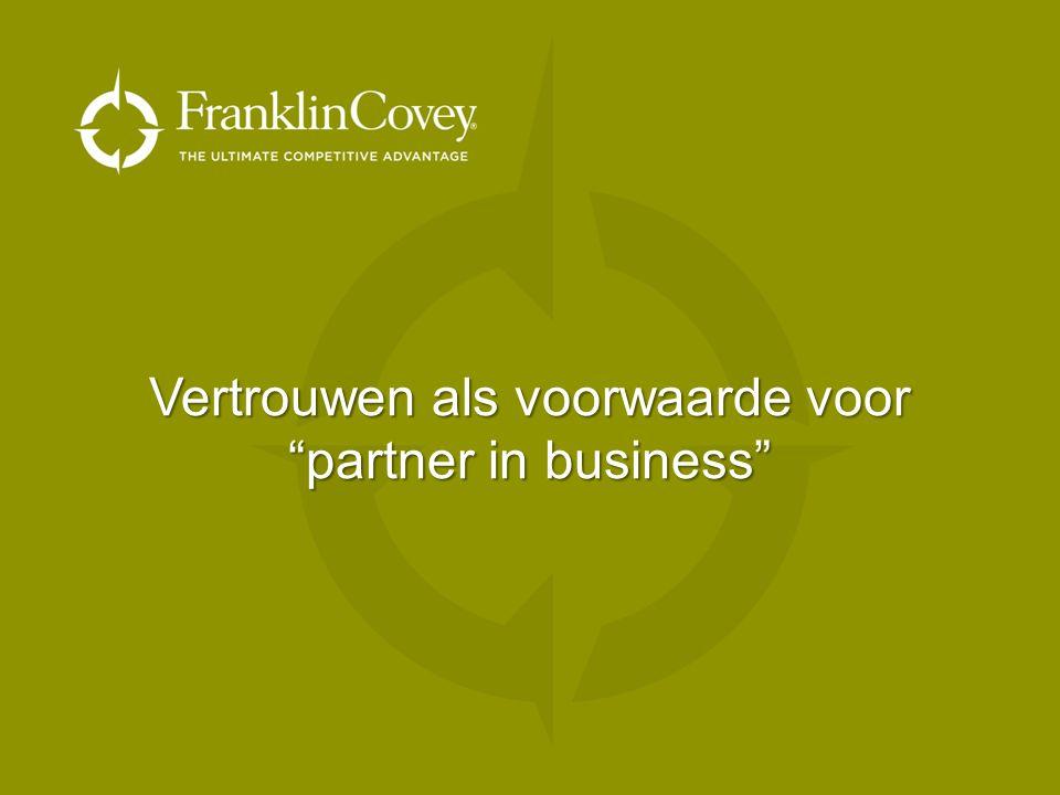 """Vertrouwen als voorwaarde voor """"partner in business"""""""