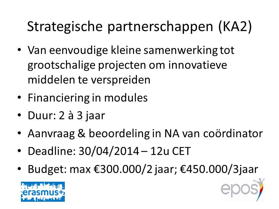 Strategische partnerschappen (KA2) • Van eenvoudige kleine samenwerking tot grootschalige projecten om innovatieve middelen te verspreiden • Financiering in modules • Duur: 2 à 3 jaar • Aanvraag & beoordeling in NA van coördinator • Deadline: 30/04/2014 – 12u CET • Budget: max €300.000/2 jaar; €450.000/3jaar