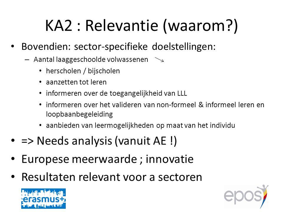 KA2 : Relevantie (waarom?) • Bovendien: sector-specifieke doelstellingen: – Aantal laaggeschoolde volwassenen • herscholen / bijscholen • aanzetten tot leren • informeren over de toegangelijkheid van LLL • informeren over het valideren van non-formeel & informeel leren en loopbaanbegeleiding • aanbieden van leermogelijkheden op maat van het individu • => Needs analysis (vanuit AE !) • Europese meerwaarde ; innovatie • Resultaten relevant voor a sectoren