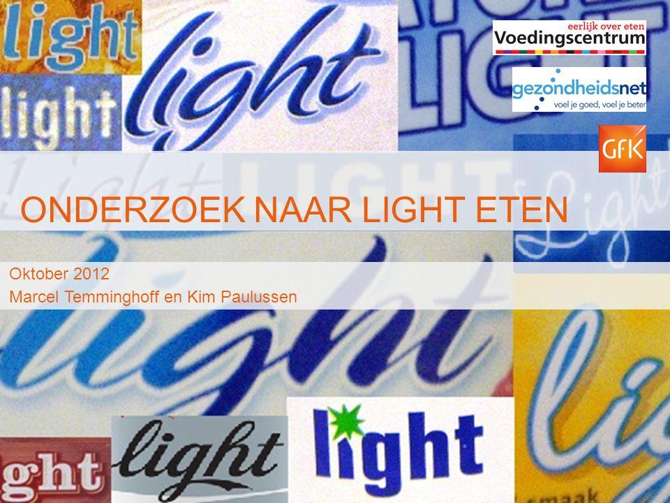 © GfK 2012 | Light Voeding | Oktober 201212 Hoe vaak eet of drinkt u de light variant ten opzichte van de normale (niet light) variant.