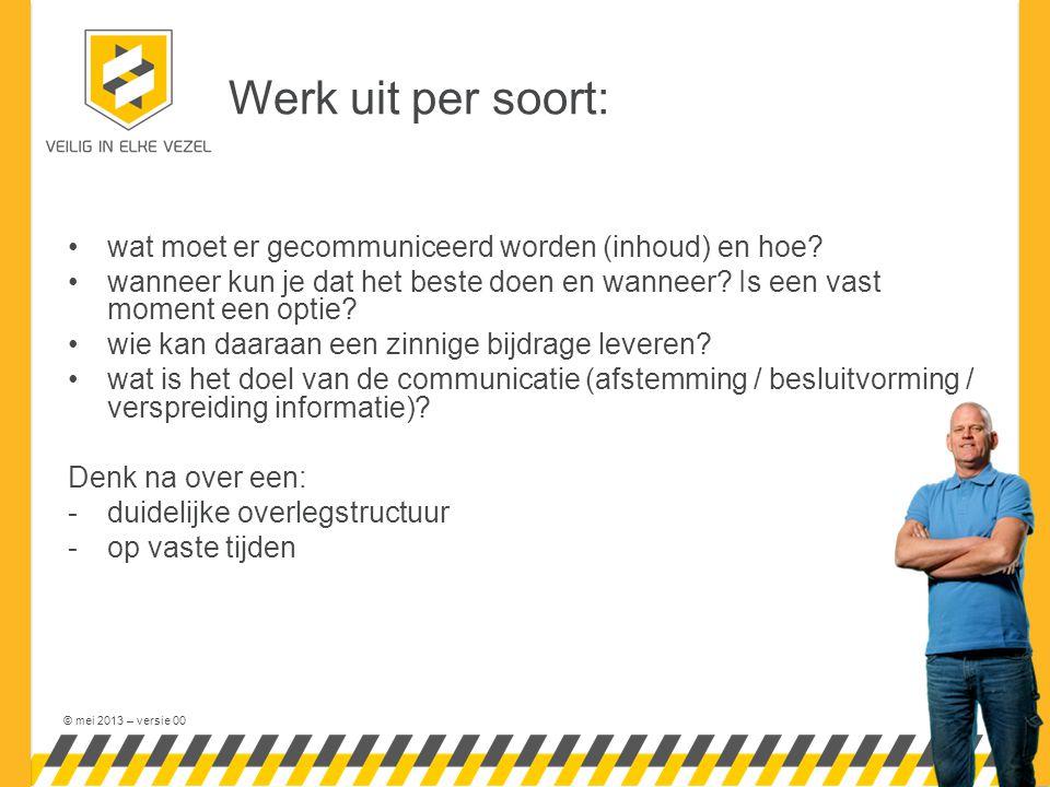 © mei 2013 – versie 00 Slechte communicatie......