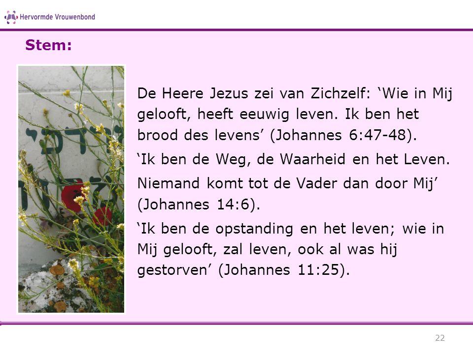 De Heere Jezus zei van Zichzelf: 'Wie in Mij gelooft, heeft eeuwig leven. Ik ben het brood des levens' (Johannes 6:47-48). 'Ik ben de Weg, de Waarheid