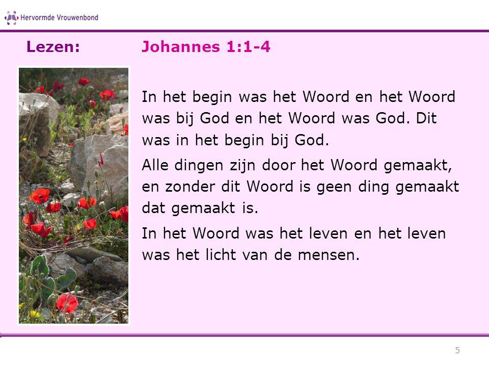 Johannes 1:1-4 In het begin was het Woord en het Woord was bij God en het Woord was God. Dit was in het begin bij God. Alle dingen zijn door het Woord