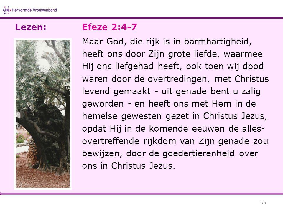 Efeze 2:4-7 Maar God, die rijk is in barmhartigheid, heeft ons door Zijn grote liefde, waarmee Hij ons liefgehad heeft, ook toen wij dood waren door d