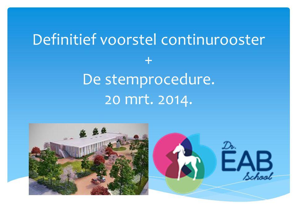 Definitief voorstel continurooster + De stemprocedure. 20 mrt. 2014.