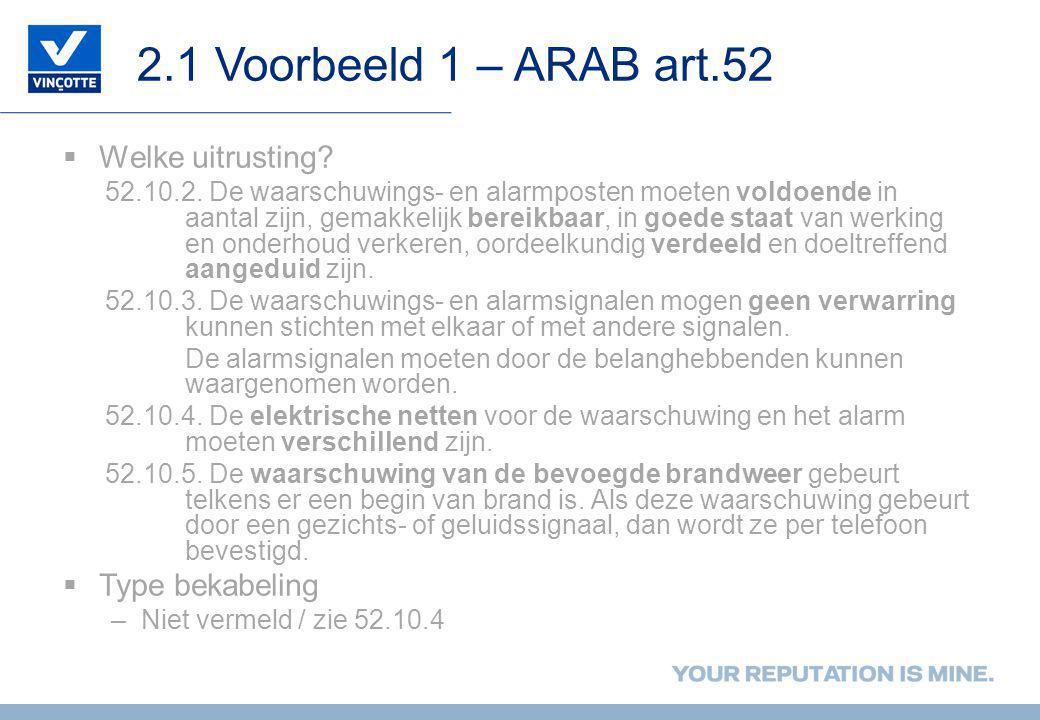 2.1 Voorbeeld 1 – ARAB art.52  Welke uitrusting? 52.10.2. De waarschuwings- en alarmposten moeten voldoende in aantal zijn, gemakkelijk bereikbaar, i
