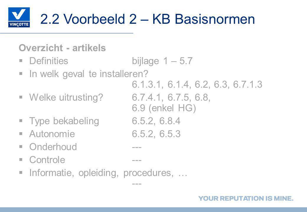 2.2 Voorbeeld 2 – KB Basisnormen Overzicht - artikels  Definitiesbijlage 1 – 5.7  In welk geval te installeren? 6.1.3.1, 6.1.4, 6.2, 6.3, 6.7.1.3 
