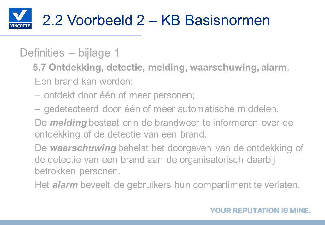2.2 Voorbeeld 2 – KB Basisnormen Definities – bijlage 1 5.7 Ontdekking, detectie, melding, waarschuwing, alarm. Een brand kan worden: –ontdekt door éé