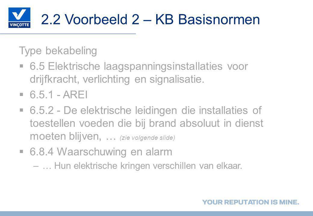2.2 Voorbeeld 2 – KB Basisnormen Type bekabeling  6.5 Elektrische laagspanningsinstallaties voor drijfkracht, verlichting en signalisatie.  6.5.1 -