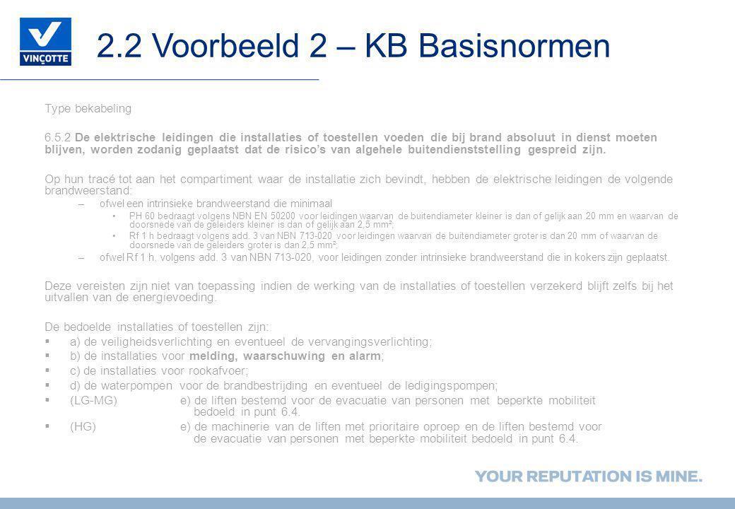 2.2 Voorbeeld 2 – KB Basisnormen Type bekabeling 6.5.2 De elektrische leidingen die installaties of toestellen voeden die bij brand absoluut in dienst