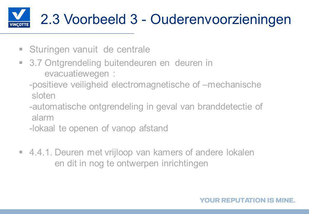 2.3 Voorbeeld 3 - Ouderenvoorzieningen  Sturingen vanuit de centrale  3.7 Ontgrendeling buitendeuren en deuren in evacuatiewegen : -positieve veilig
