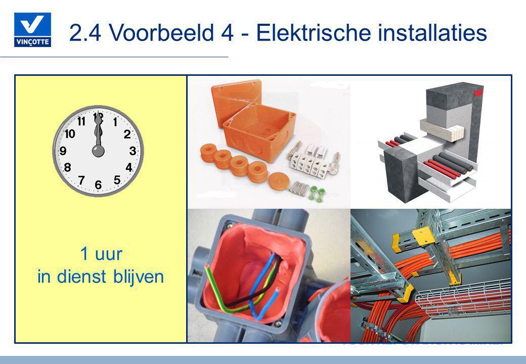 2.4 Voorbeeld 4 - Elektrische installaties 1 uur in dienst blijven