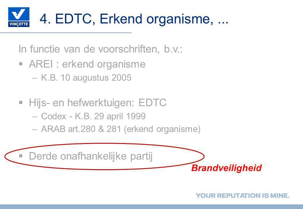 4. EDTC, Erkend organisme,... In functie van de voorschriften, b.v.:  AREI : erkend organisme –K.B. 10 augustus 2005  Hijs- en hefwerktuigen: EDTC –