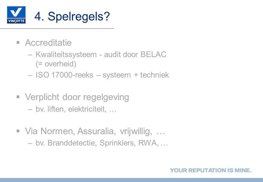 4. Spelregels?  Accreditatie –Kwaliteitssysteem - audit door BELAC (= overheid) –ISO 17000-reeks – systeem + techniek  Verplicht door regelgeving –b