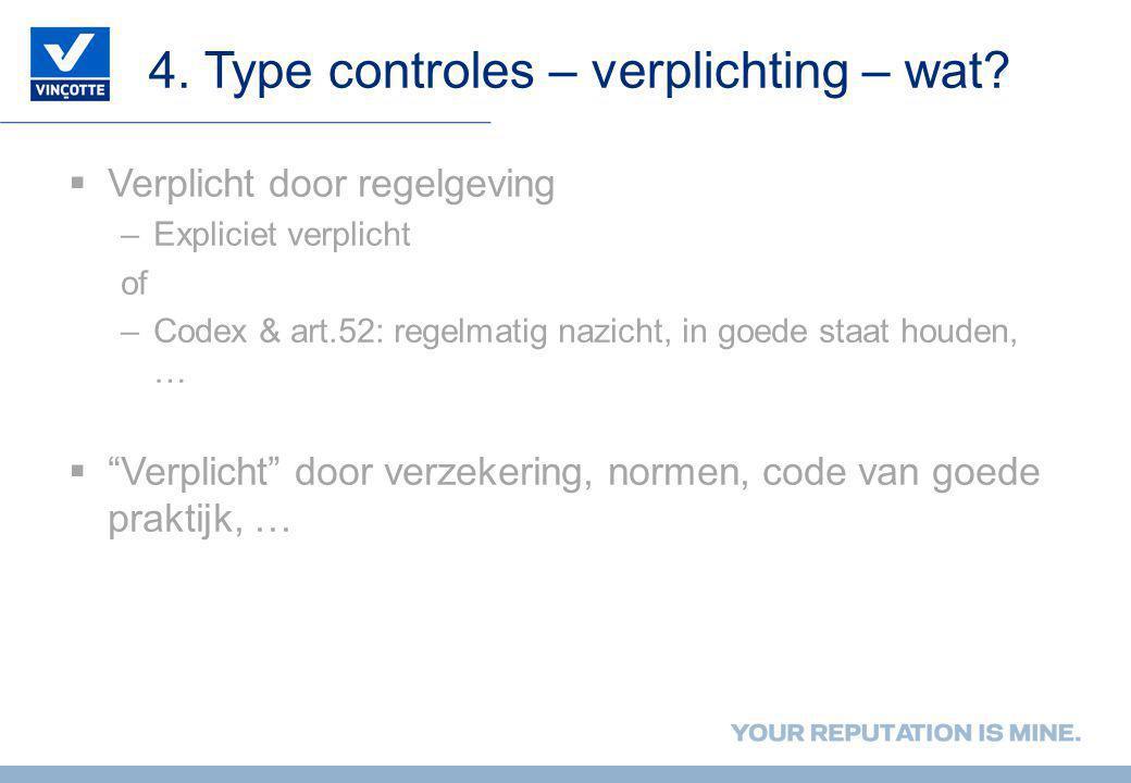 4. Type controles – verplichting – wat?  Verplicht door regelgeving –Expliciet verplicht of –Codex & art.52: regelmatig nazicht, in goede staat houde