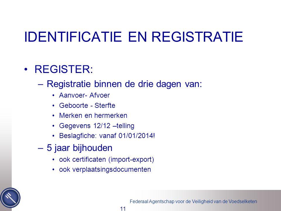 Federaal Agentschap voor de Veiligheid van de Voedselketen IDENTIFICATIE EN REGISTRATIE •REGISTER: –Registratie binnen de drie dagen van: •Aanvoer- Af