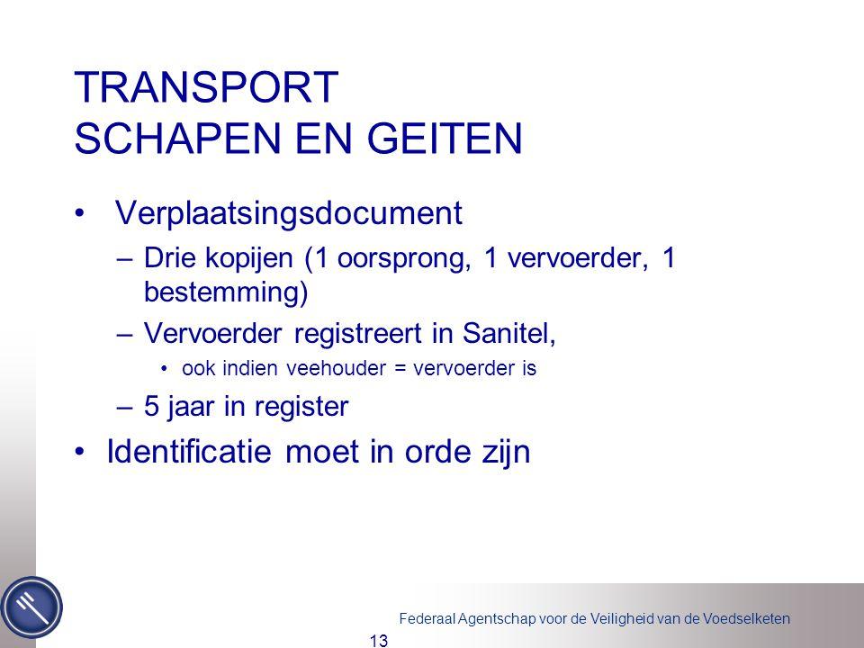 Federaal Agentschap voor de Veiligheid van de Voedselketen TRANSPORT SCHAPEN EN GEITEN • Verplaatsingsdocument –Drie kopijen (1 oorsprong, 1 vervoerde