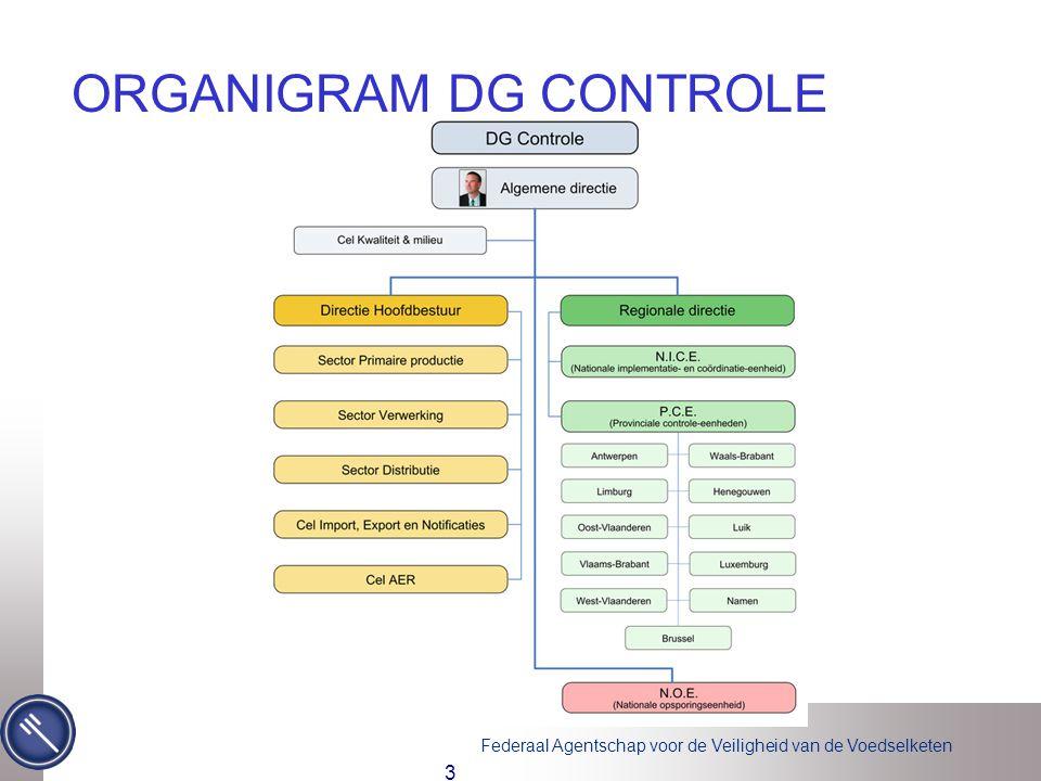 Federaal Agentschap voor de Veiligheid van de Voedselketen 3 ORGANIGRAM DG CONTROLE