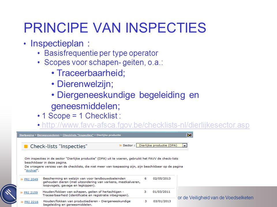 Federaal Agentschap voor de Veiligheid van de Voedselketen PRINCIPE VAN INSPECTIES 6 • Inspectieplan : • Basisfrequentie per type operator • Scopes vo