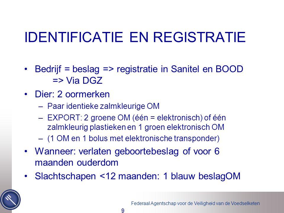 Federaal Agentschap voor de Veiligheid van de Voedselketen IDENTIFICATIE EN REGISTRATIE •Bedrijf = beslag => registratie in Sanitel en BOOD => Via DGZ