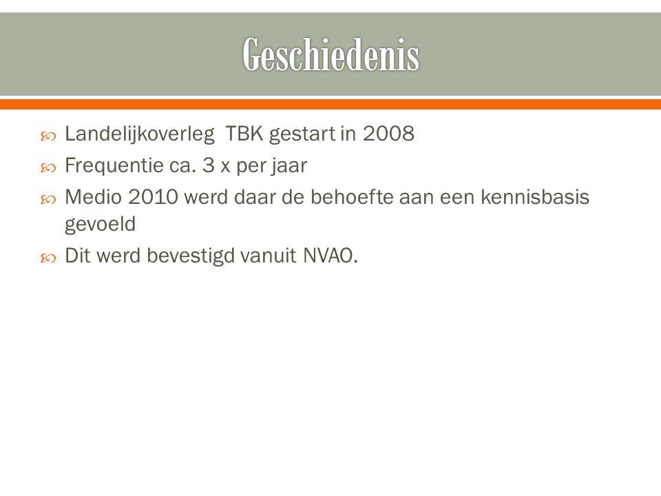  Landelijkoverleg TBK gestart in 2008  Frequentie ca. 3 x per jaar  Medio 2010 werd daar de behoefte aan een kennisbasis gevoeld  Dit werd bevesti